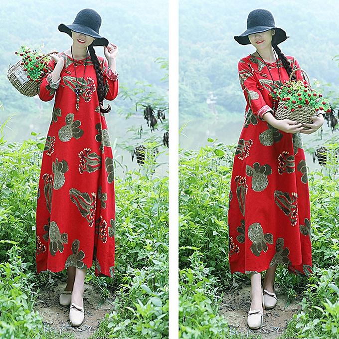mode femmes Plus Taille impression manche longues Cotton And Linen Loose  Long  Robe à prix pas cher