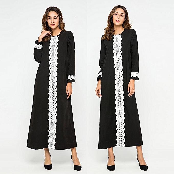 mode quanxinhshang femmes Lace Splice Abaya Islamic Muslim Kaftan Robe Turkish Long Robees à prix pas cher