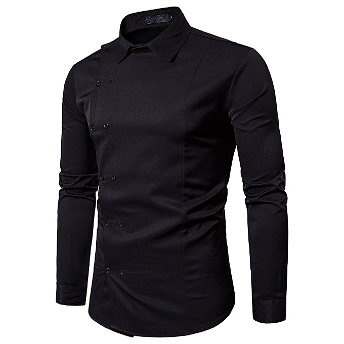 Other New Stylish Men Long Sleeve Side Double Button British Style Slim Shirt à prix pas cher