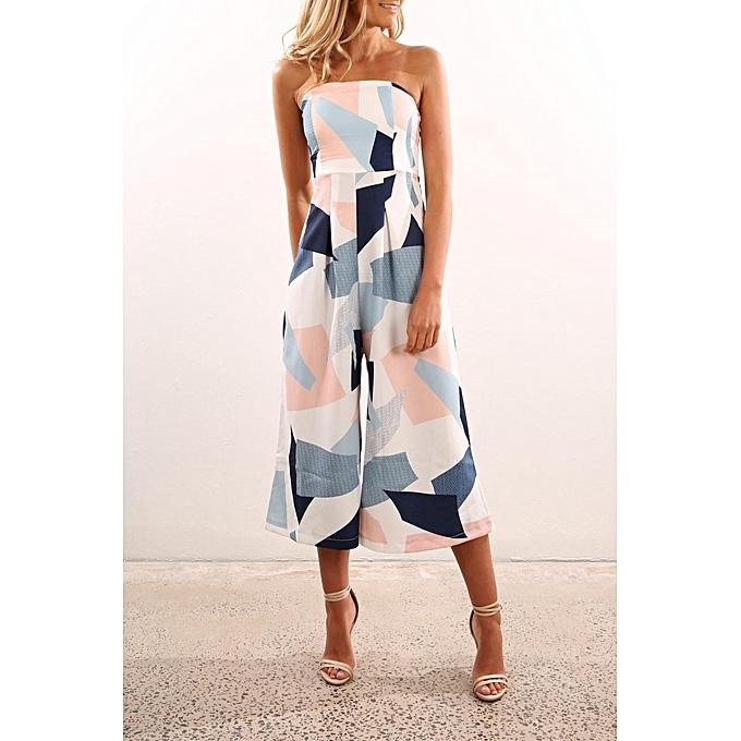 mode YOINS femmes Off Shoulder Backless Sleeveless Random Geometry Floral Print Jumpsuit XS-XXL à prix pas cher