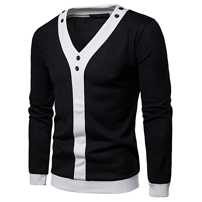 mode Pour des hommes Décontracté Autumn Patchwork chemisier V Neck Shirt manche longue hauts -noir à prix pas cher