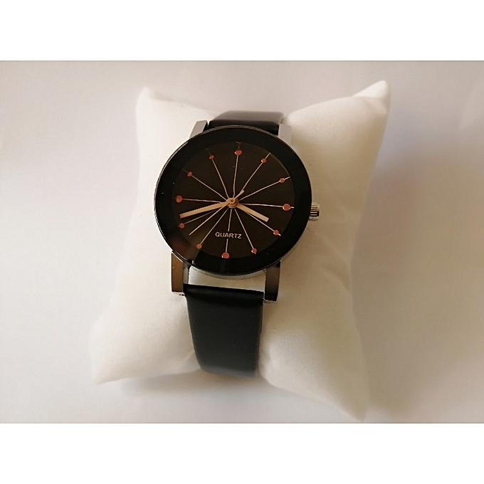 db0a93ab8 ساعة نسائية أنيقة بسوار الجلد الأسود ساعة اليد الانثوي الباقة الجذابة