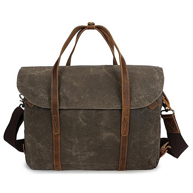 Fashion Oil wax canvas with crazy horse leather official handbag European and American hommes bag retro shoulder slung handbag à prix pas cher