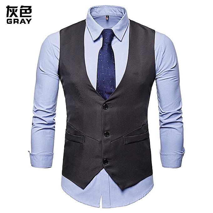 OEM Fashion Men Vest Men Suit Vest Solid Couleur Single Breaste Casual Vest Men Formal Business Wedding Tuxedo Vest Suit Gilet -gris à prix pas cher