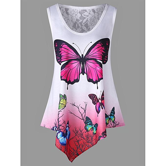 Generic HL Asymmetrical Butterfly Print Ombre Couleur Tank Top (blanc) à prix pas cher