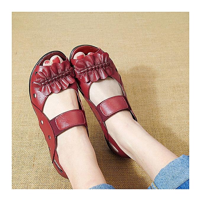 Fashion femmes Peep Toe Leather Elastic Hollow Out Flat Sandals à prix pas cher