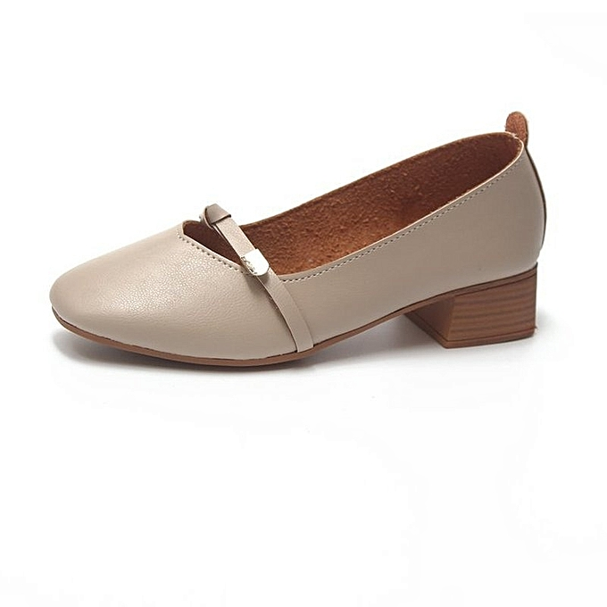 Other Stylish Rough Heel Restoration Residence Student Single chaussures Work chaussures-Beige à prix pas cher    Jumia Maroc