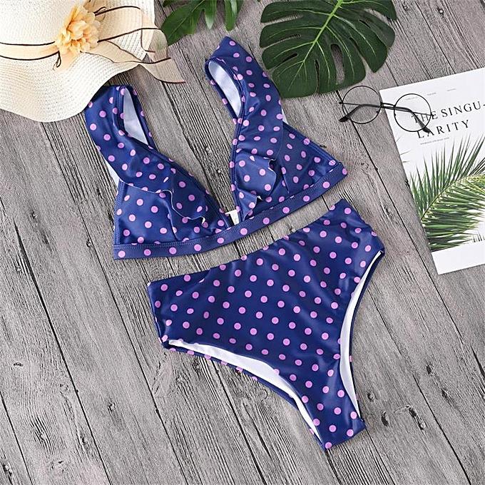 Autre Le Ruffle High Waist maillot de bain y Dot Bikini Set 2019 nouveau Style Brazilian femmes été plage Wear Bikinis maillot de bain(PE) à prix pas cher