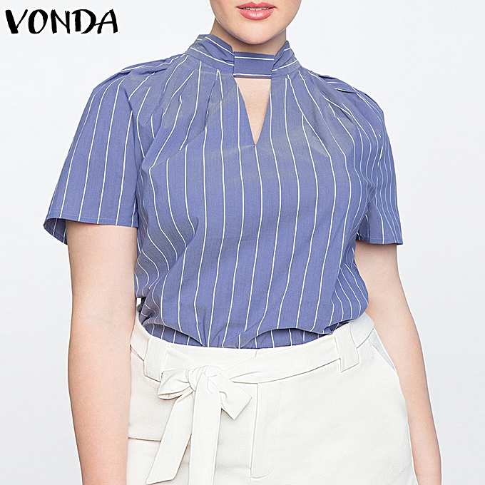 Zanzea UK 10-24 femmes Striped Choker Short Sleeve Cotton Mode Formal Blouse Shirt Top à prix pas cher