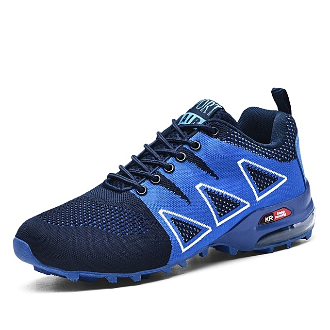 Other Stylish Men's Large Taille Hiking chaussures Breathable Air Cushion Outdoor Sports chaussures-bleu à prix pas cher