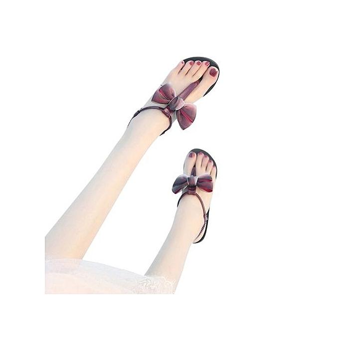 Fashion Blicool Shop femmes Sandals femmes Flat chaussures Bowknot Bohemia Leisure Lady Sandals Peep-Toe Flip Flops chaussures-Wine à prix pas cher