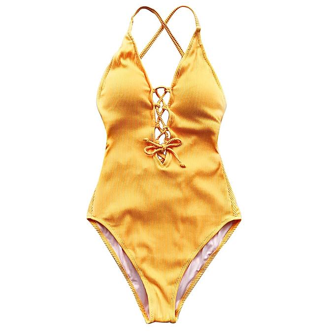 Other Remind Me Solid One-piece maillot de bain femmes Backless Deep V neck Lace Up Bodysuits plage Bathing Suit maillot de bain(or) à prix pas cher