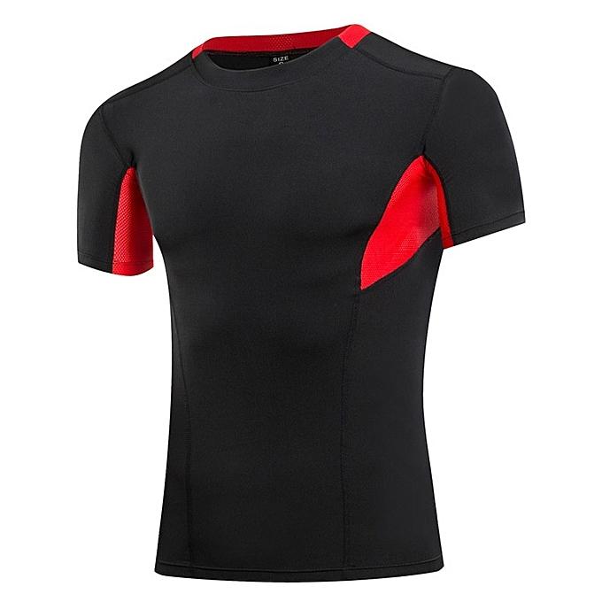 Other Stylish Men's Quick Dry Fitness T Shirt Slim Sports Tops-noir rouge à prix pas cher