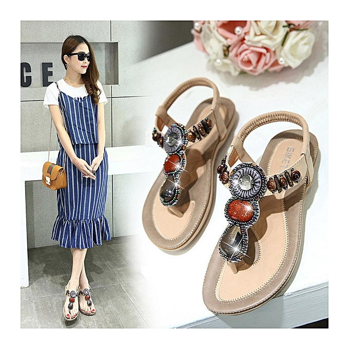 OEM Hot   Large    beaded 's sandals Chaussure s beaded  slippers Bohemian flip-flops Comfortable flat Chaussure s -apricot à prix pas cher  | Black Friday 2018 | Jumia Maroc 927e78
