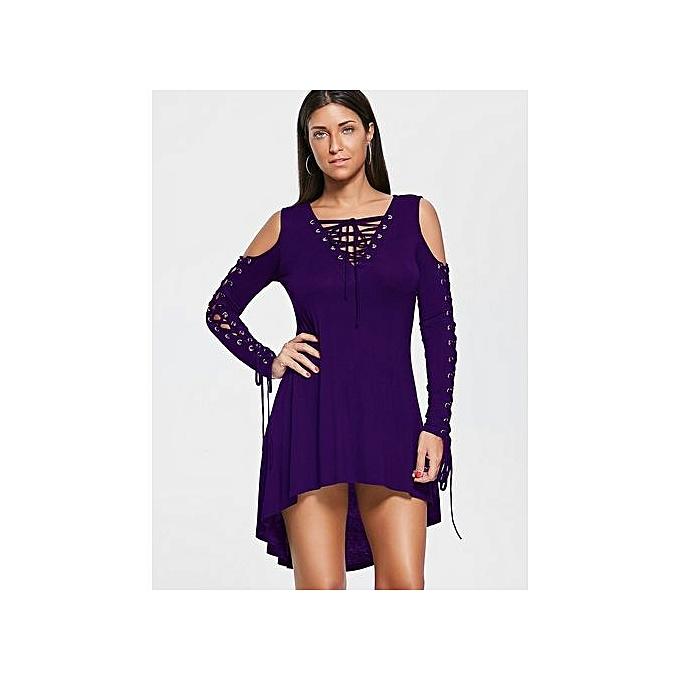 Generic HL Lace Up Cold Shoulder Tee Robe (violet)(M-2XL) à prix pas cher