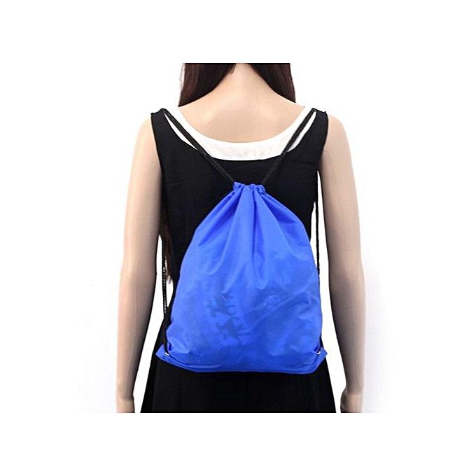 Generic Nylon Drawstbague Cinch Sack Sport voyage de plein air sac à dos sacs bleu à prix pas cher