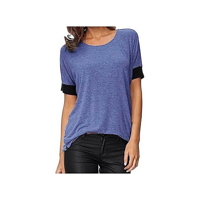 mode Tee-Shirt Manches Courtes A Encolure Ronde - Bleu à prix pas cher