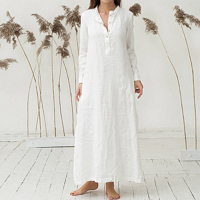 mode TCE femmes& 039;s Kaftan Cotton manche longue Plain Casaul OverTailled Maxi Long Robe WH L à prix pas cher