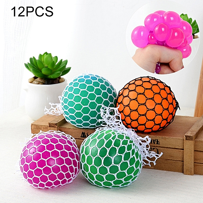 UNIVERSAL 12 PCS 7cm 4-Couleur Anti-Stress Face Reliever Grape Ball Extrusion Mood Squeeze Relief Healthy drôle Tricky Vent Toy à prix pas cher