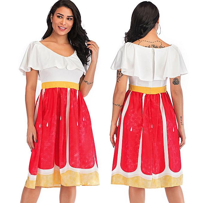 mode femmes& 039;s été mode Ruffle Print Décontracté Slim High Waist A-Line Robe à prix pas cher