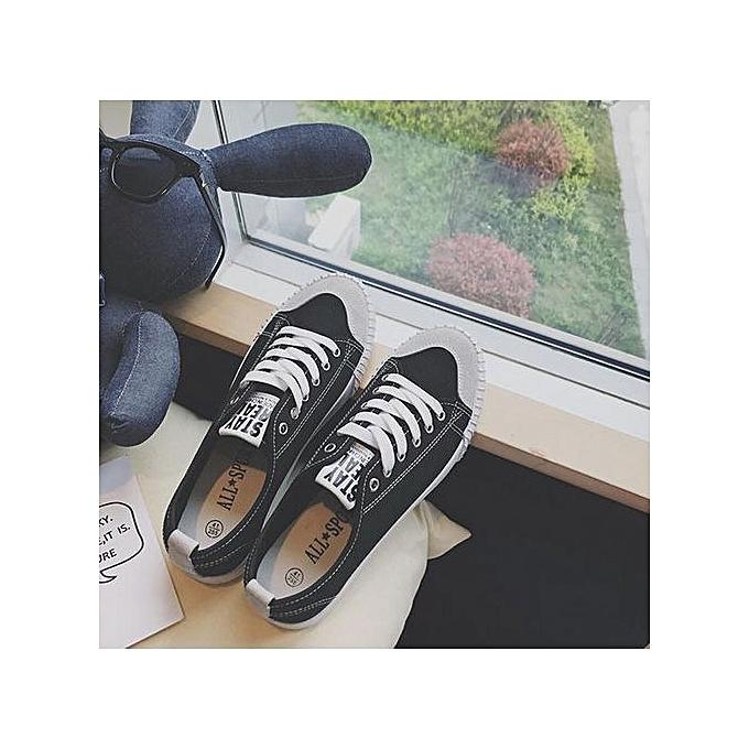OEM New breathable ladies canvas chaussures femmes chaussures Korean casual couple chaussures low tide student board chaussures-noir à prix pas cher