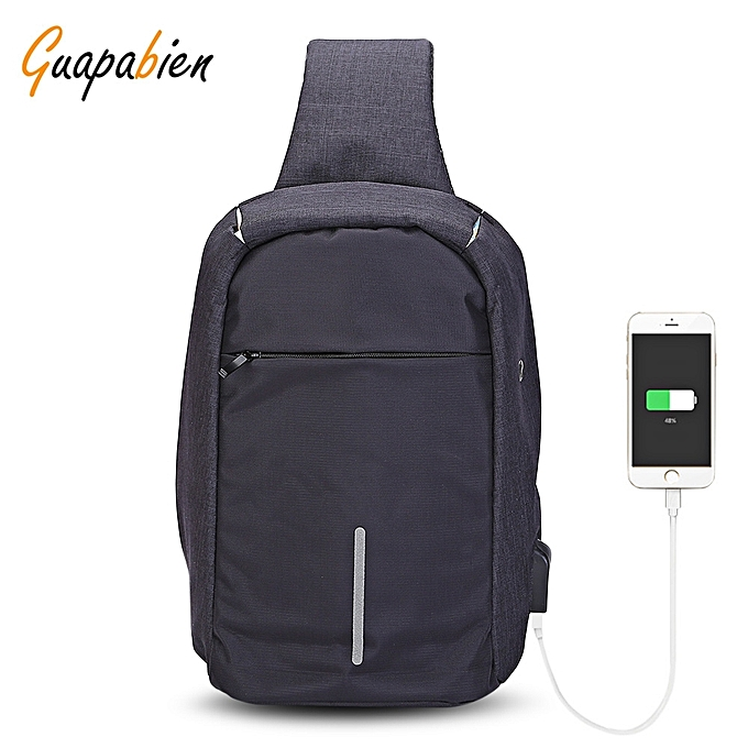 GENERAL Leadintelligent Guapabien Sling Shoulder Chest sac for Hommes with USB Charging Port Headphone Hole à prix pas cher