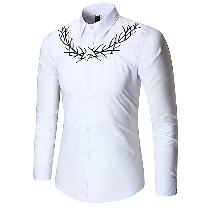 Other Stylish Spring  Men's Leisure Embroidery Long Sleeve Shirt à prix pas cher