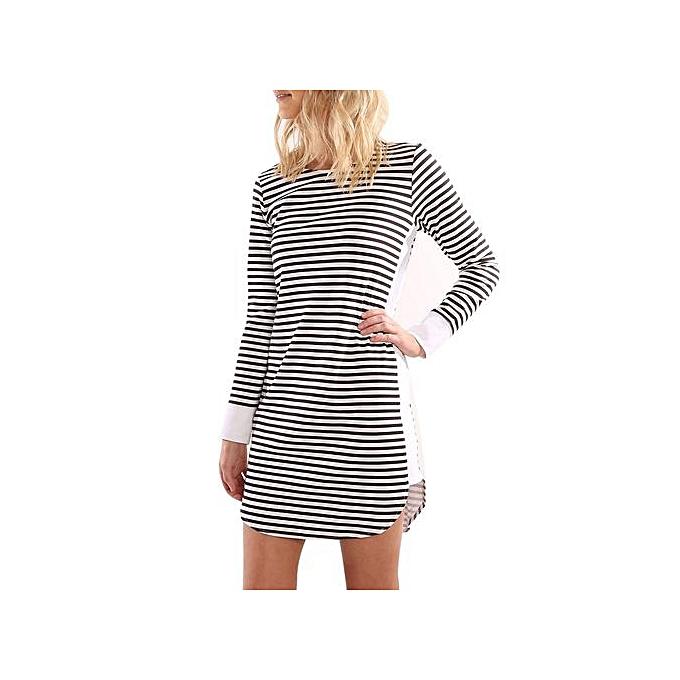 Fashion Fashion femmes Sundress Long Sleeve Stripe Splice Mini Dress Beach Party Dress à prix pas cher