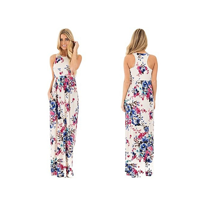 Fashion 2017 Summer Beach Long Dresses For femmes Ladies Boho Floral Print Sleeveless Tank Tunic Maxi Robes With Pockets Female-beige à prix pas cher
