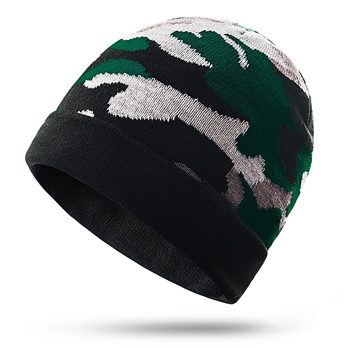 AONIJIE Men femmes Winter Cap Keep Warming Knitting Camouflage Warm Riding Snowboard Sports Knitted Hiking Cap Hat(Camouflage vert) à prix pas cher