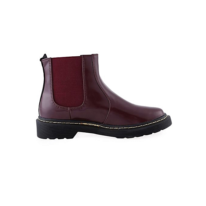 Fashion Stylish Square Toe   Ankle Ankle  Boots Pure Color Slip On Boots-WINE RED à prix pas cher  | Jumia Maroc caa036