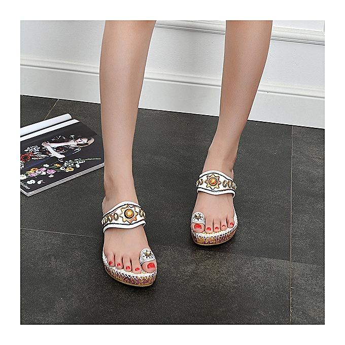 Fashion Fashion femmes Sun Rhinestone Clip Toe Wedge Heel Flower Bohemia Slip On Sandals à prix pas cher    Jumia Maroc