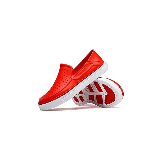 Fashion Super Large Taille Men's sandals Beach breathable quick-drying slippers hommes hole chaussures -rouge à prix pas cher