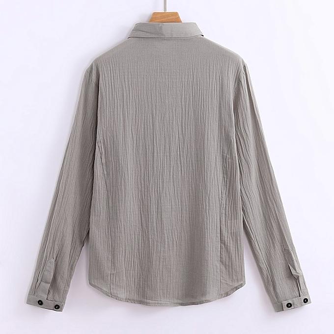 Fashion Mens Long Sleeve Henley Shirt Cotton Linen Beach Yoga Loose Fit Tops Blouse à prix pas cher