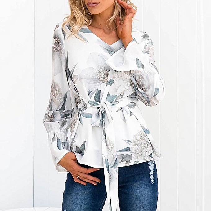 mode femmes Ladies Print manche longue OL Shirt Décontracté cravate hauts chemisier à prix pas cher