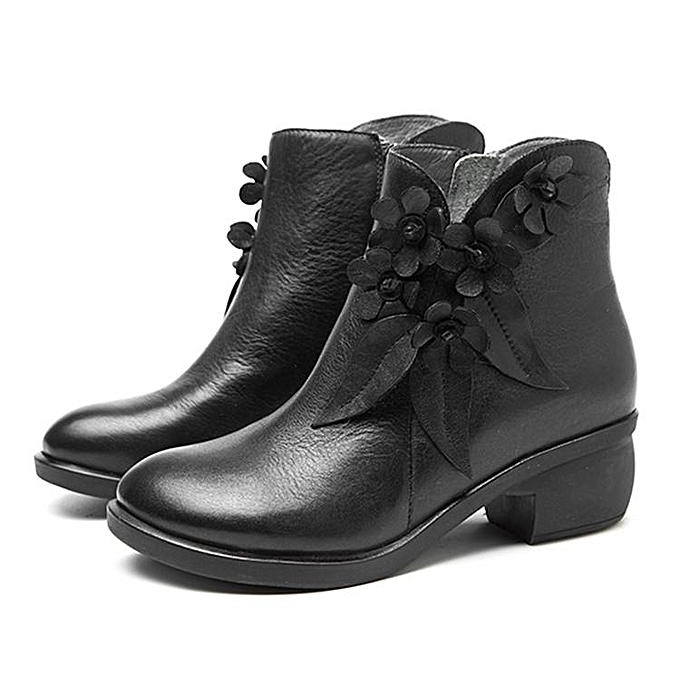 Fashion Fashion WoHommes  Vintage Handmade Leather Ankle Boots Boots Ankle Casual Floral Zipper Shoes à prix pas cher    Jumia Maroc 74ddc3