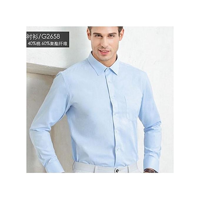 Generic Men's Iron Free Long Sleeve Business Shirt (bleu) à prix pas cher