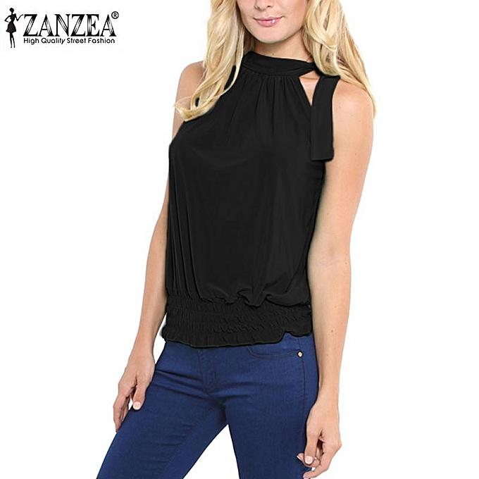 Zanzea ZANZEA femmes été Sleeveless Tank hauts Décontracté Ruffle Elastic Waist Crop Top Plus Taille Elegant Bowknot Cropped bleusa noir à prix pas cher