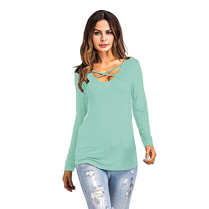 mode mode femmes manche longue Printed Shirt V Neck Décontracté hauts chemisier GN L à prix pas cher