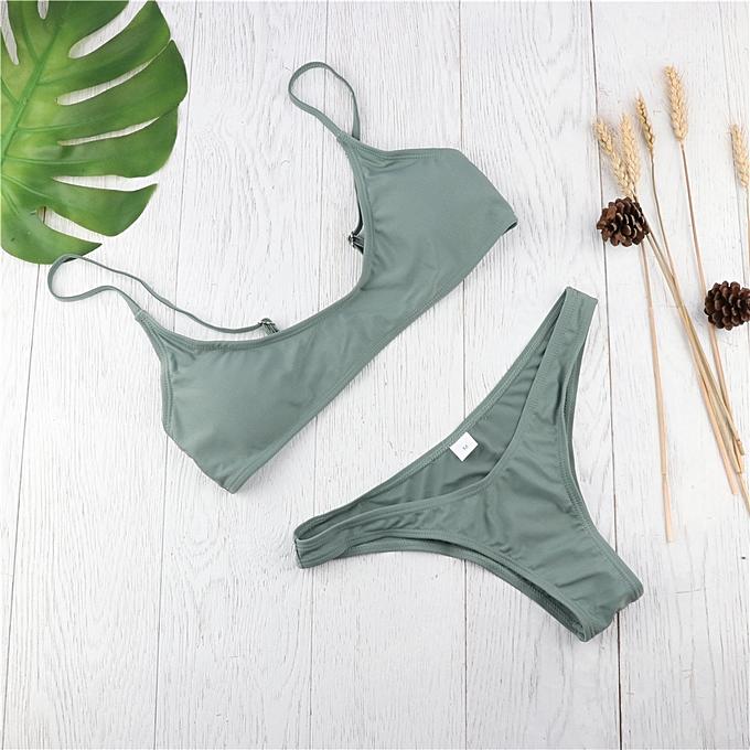 Autre femmes Bikini Set Swimwear 2019 Thong Bkini Bequini Swimsuit Summer Beach femmes Bathing Suit Monokini Padded 9 Couleur New(E Army vert) à prix pas cher