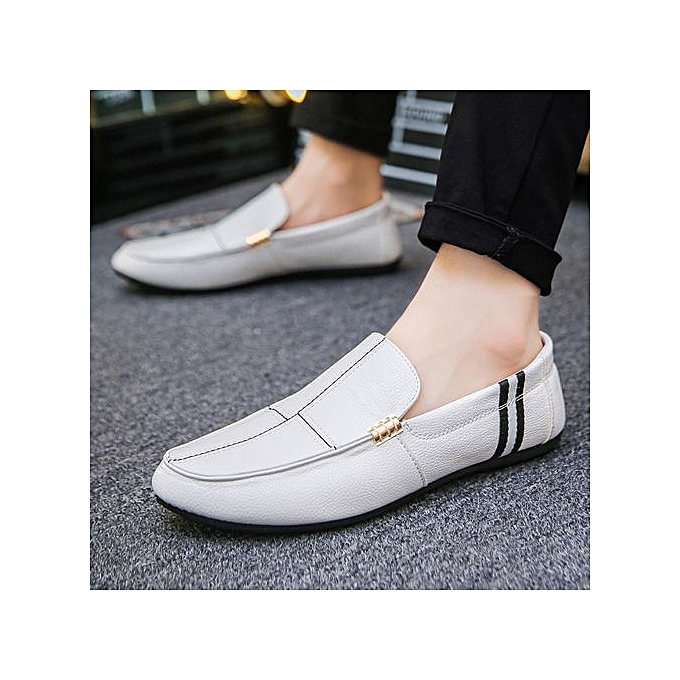 OEM New hommes peas chaussures hommes chaussures social guy casual chaussures hommes lazy chaussures striped low to help chaussures-blanc à prix pas cher    Jumia Maroc