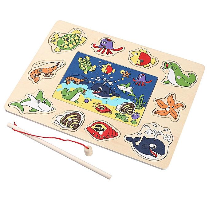 Generic Enfants Magnetic Fishing Game And 3D Jigsaw Puzzle Board boisen Educational Toy à prix pas cher