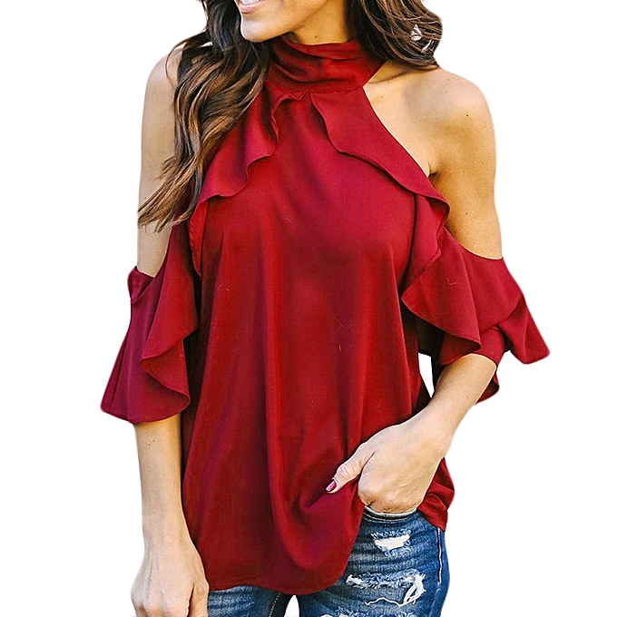 Generic Generic femmes Pure Couleur Halter  Short Sleeve Ruffles Tops Loose T-Shirt Blouse A1 à prix pas cher