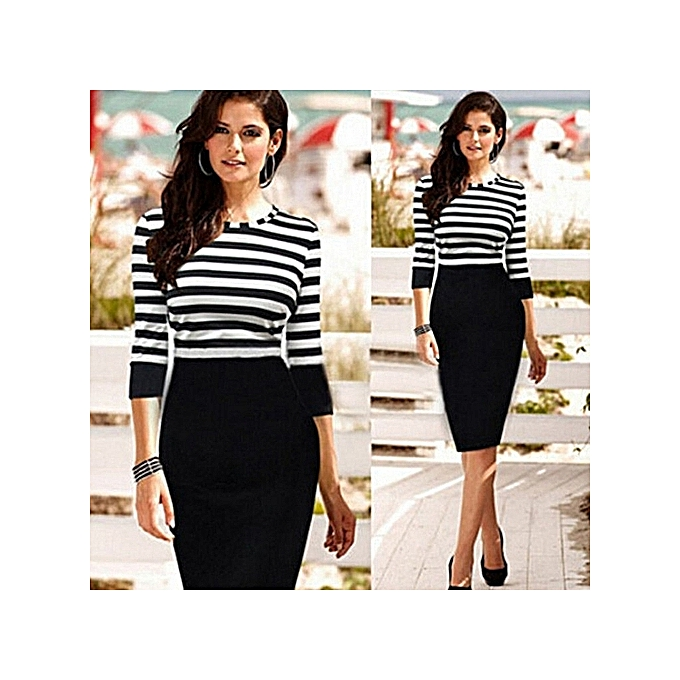Fashion Plus Taille Office Midi Dresses Half Sleeve Striped Wohommes Wear To Work Pencil Dress-noir à prix pas cher