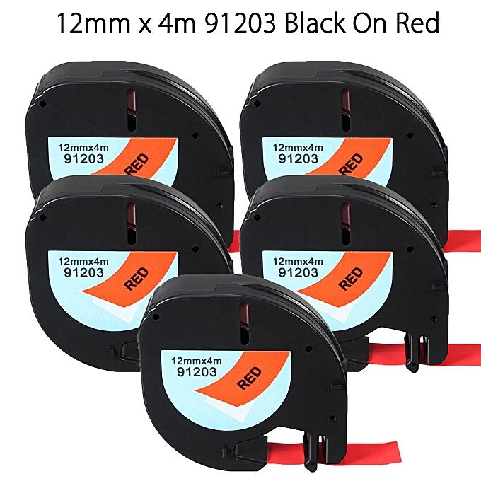 UNIVERSAL 5pcs 12mmx4m Plastic Label Tape Compatible For Dymo LetraTag 91203 à prix pas cher