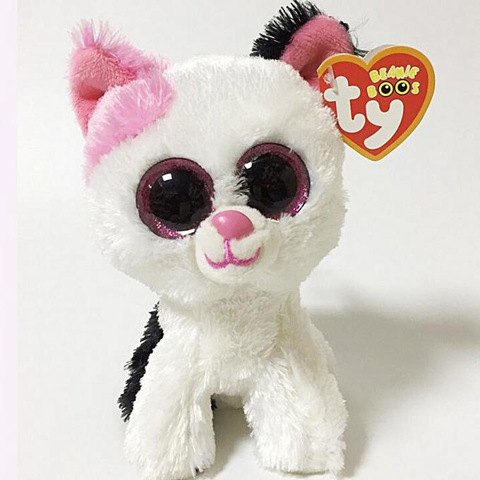 Autre Ty Beanie Boos Big Eyes Owl Cat Elephant Penguin Deer Lion Foxy Dog Rabbit Giraffe Monkey Stuffed Animals Plush Toys(6) à prix pas cher