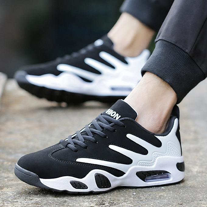 mode Air Cushion Lace-Up Basketball chaussures Sport chaussures-noir blanc à prix pas cher