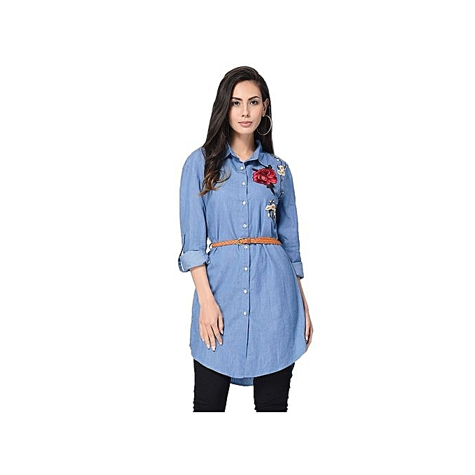 Fashion 2017 Spring Plus Taille Tees Tops Ladies New Long Sleeve Jeans Blouse bleusa Embroiderouge Flowers Femininas Shirts With Belt à prix pas cher