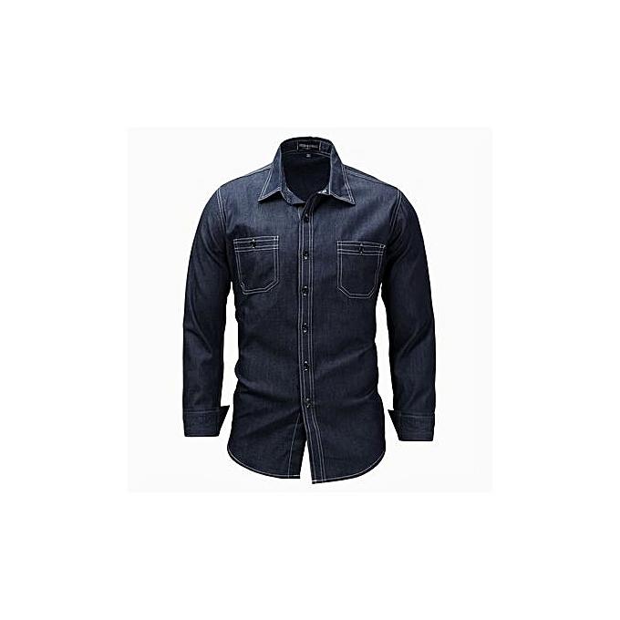 mode nouveau Western Stylegrand Taille Hommes& 039;s manche longue Lapel Shirt Denim Shirt à prix pas cher