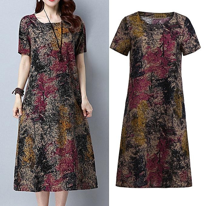 mode schoolcool mode femmes manche courte O Neck Pocket Cotton Linen Printed Loose Décontracté Robe à prix pas cher